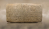 Photo of Hittite sculpted Orthostats panel from the  Long Wall.  Limestone, Kargarmis, Gaziantep, 900 - 700 BC,  Hieroglyph. Anatolian Civilisations Museum, Ankara, Turkey.<br /> <br /> In the epigraph with hieroglyph, he narrates that the gods were provoked against him, the account of the cities conquered and the spoils of war; that he allocated a share for the gods, and that he instigated the mighty king Tarhunza and the other gods. In the other lines, he demands that people should present offerings to statues but should evil-intentioned people be among them, such person individuals be punished by the gods.  <br /> <br /> On a brown art background. .<br />  <br /> If you prefer to buy from our ALAMY STOCK LIBRARY page at https://www.alamy.com/portfolio/paul-williams-funkystock/hittite-art-antiquities.html  - Type  Karkamıs in LOWER SEARCH WITHIN GALLERY box. Refine search by adding background colour, place, museum etc.<br /> <br /> Visit our HITTITE PHOTO COLLECTIONS for more photos to download or buy as wall art prints https://funkystock.photoshelter.com/gallery-collection/The-Hittites-Art-Artefacts-Antiquities-Historic-Sites-Pictures-Images-of/C0000NUBSMhSc3Oo
