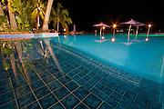 Nightime shot of the infinity pool at Iririki Island Resort in Port Vila, Vanuatu.