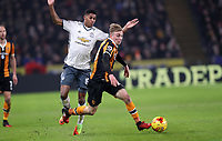 Football - 2016 / 2017 League (EFL )Cup - semi-Final, Second leg: Hull City vs. Manchester United<br /> <br /> Marcus Rashford of Manchester United and Jarrod Bowen of Hull City during the match at  Kcom Stadium<br /> <br /> COLORSPORT/LYNNE CAMERON