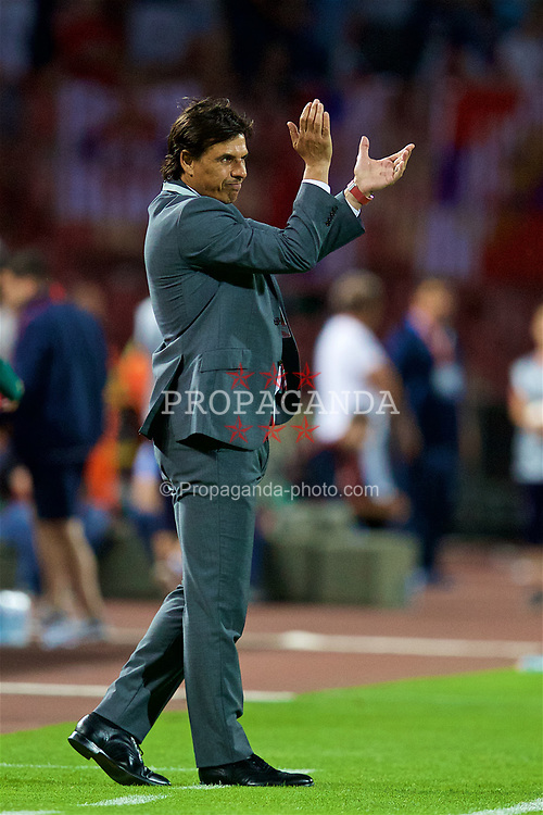BELGRADE, SERBIA - Sunday, June 11, 2017: Wales' manager Chris Coleman during the 2018 FIFA World Cup Qualifying Group D match between Wales and Serbia at the Red Star Stadium. (Pic by David Rawcliffe/Propaganda)