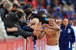 23.10.2011,  BayArena, Leverkusen, GER, 1.FBL, Bayer 04 Leverkusen vs Schalke 04, im Bild.Jermaine Jones (Schalke #13) freut sich mit den Fans..// during the 1.FBL, Bayer Leverkusen vs Schalke 04 on 2011/10/23, BayArena, Leverkusen, Germany. EXPA Pictures © 2011, PhotoCredit: EXPA/ nph/  Mueller       ****** out of GER / CRO  / BEL ******