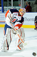 KELOWNA, CANADA, OCTOBER 29: Cole Cheveldave #38 of the Kamloops Blazers warms up Kamloops Blazers visit the Kelowna Rockets  on October 29, 2011 at Prospera Place in Kelowna, British Columbia, Canada (Photo by Marissa Baecker/Shoot the Breeze) *** Local Caption *** Cole Cheveldave;