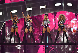 Little Mix's Perrie Edwards, Jesy Nelson, Leigh-Anne Pinnock and Jade Thirlwall on stage at the BRIT Awards 2017, held at The O2 Arena, in London.<br /><br />Picture date Tuesday February 22, 2017. Picture credit should read Matt Crossick/ EMPICS Entertainment. Editorial Use Only - No Merchandise.
