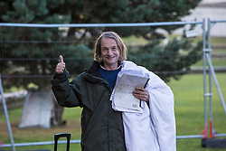 The Scottish Independence camp (Indy Camp) has been evicted from the grounds of the Scottish Parliament.<br /> <br /> Pictured: King James Smith remaining defiant after being evicted