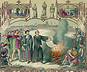 Martin Luther (1483-1546) German Protestant reformer burning the Papal Bull excommunicating him, Wittenberg, 1520. Coloured lithograph.