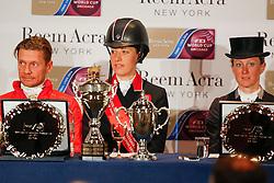 Pressconference<br /> Edward Gal, Charlotte Dujardin, Helen Langehanenberg<br /> Reem Acra FEI World Cup™ Dressage Final 2013/2014<br /> Lyon 2014<br /> © Dirk Caremans