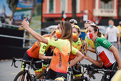 Anna Trevisi (ITA) takes a selfie with her Alé BTC Ljubljana teammates at the 2020 La Course By Le Tour with FDJ, a 96 km road race in Nice, France on August 29, 2020. Photo by Sean Robinson/velofocus.com