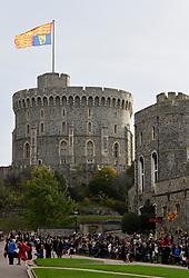 Guests wait for the royal wedding of Princess Eugenie and Jack Brooksbank in Windsor Castle, Windsor.