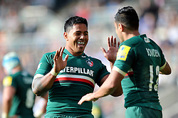 Leicester Tigers centre Manu Tuilagi congratulates centre Dan Bowden on his try and Leicester's bonus point score - Photo mandatory by-line: Patrick Khachfe/JMP - Tel: Mobile: 07966 386802 - 21/09/2013 - SPORT - RUGBY UNION - Welford Road Stadium - Leicester Tigers v Newcastle Falcons - Aviva Premiership.