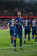 Neymar da Silva Santos Junior - Neymar Jr (PSG) celebrated it goal scored, Thiago Silva (PSG), Edinson Roberto Paulo Cavani Gomez (psg) (El Matador) (El Botija) (Florestan), Angel Di Maria (psg) during the French championship L1 football match between Paris Saint-Germain (PSG) and Toulouse Football Club, on August 20, 2017, at Parc des Princes, in Paris, France - Photo Stephane Allaman / ProSportsImages / DPPI