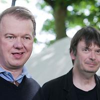Edwyn Collins (left), the Scottish musician & Ian Rankin, at the Edinburgh International Book Festival 2015.  at the Edinburgh International Book Festival 2015. <br /> Edinburgh, Scotland. 25th August 2015 <br /> <br /> Photograph by Gary Doak/Writer Pictures<br /> <br /> WORLD RIGHTS