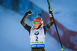 Laura Dahlmeier (GER) celebrating her victory during Women 10 km Pursuit at day 3 of IBU Biathlon World Cup 2015/16 Pokljuka, on December 19, 2015 in Rudno polje, Pokljuka, Slovenia. Photo by Ziga Zupan / Sportida