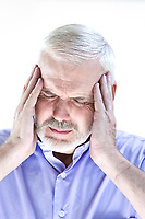 caucasian senior man portrait migraine isolated studio on white background