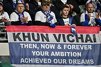 Football - 2018 / 2019 Premier League - Cardiff City vs. Leicester City<br /> <br /> Leicester fans with tribute to Vichai Srivaddhanaprabhain Leicster's 1st match since the death of Vichai Srivaddhanaprabha, at Cardiff City Stadium.<br /> <br /> COLORSPORT/WINSTON BYNORTH