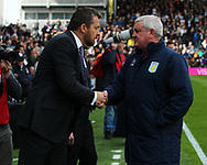 Slavisa Jokanovic of Fulham and Steve Bruce of Aston Villa during the Sky Bet Championship match at Craven Cottage, London<br /> Picture by Richard Brooks/Focus Images Ltd 07947656233<br /> 17/04/2017