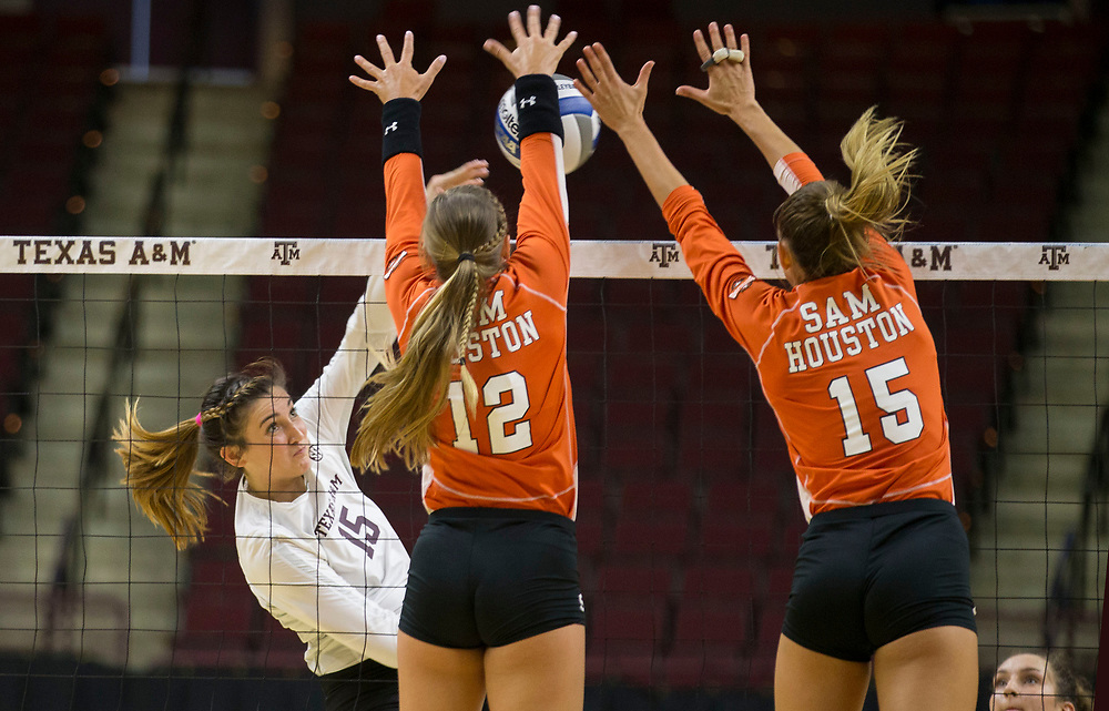 Sam Houston vs. Texas A&M NCAA college volleyball game Friday, Aug. 25, 2018, in College Station, Texas.