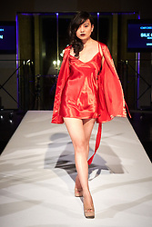 © Licensed to London News Pictures.  05/11/2014. OXFORD, UK. Oxford Fashion Week SS15 Lingerie Show at the Malmaison Hotel in Oxford. <br /> <br /> In this picture: Model wearing an outfit by created by designer Silk Cocoon. <br /> <br /> Photo credit: Cliff Hide/LNP