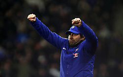 Chelsea manager Antonio Conte celebrates his side's third goal of the game