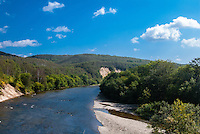 Russia, Sakhalin, Kholmsk. View from the road between Yuzhno-Sakhalinsk and Kholmsk. The road follows and crosses the Lyutoga River at several spots.