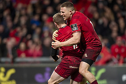 December 30, 2018 - Limerick, Ireland - Keith Earls of Munster celebrates scoring with Andrew Conway during the Guinness PRO14 match between Munster Rugby and Leinster Rugby at Thomond Park in Limerick, Ireland on December 29, 2018  (Credit Image: © Andrew Surma/NurPhoto via ZUMA Press)