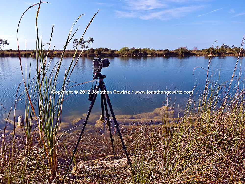 A photographer's tripod-mounted camera stands on the edge of a scenic pond in the southern part of Everglades National Park, Florida. WATERMARKS WILL NOT APPEAR ON PRINTS OR LICENSED IMAGES.