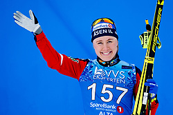 April 6, 2018 - Alta, NORWAY - 180406 Ragnhild Haga celebrates after the Women's 5 km Classic during the Norwegian Championship on April 6, 2018 in Alta..Photo: Jon Olav Nesvold / BILDBYRN / kod JE / 160235 (Credit Image: © Jon Olav Nesvold/Bildbyran via ZUMA Press)