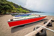 Outrigger Canoe fishing boat, Hookena, Big Island of Hawaii