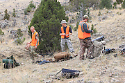 Young backcountry hunters set up camp in the hills east of Dillon, Montana.