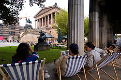 Alte Nationalgalerie and colonnade  on Museumsinsel or Museum Island in Berlin Germany