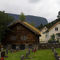 Europe, Norway, Flam. Flam Church and Cemetery.