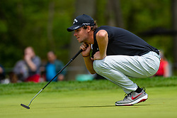 May 19, 2019 - Farmingdale, NY, U.S. - FARMINGDALE, NY - MAY 19: Thomas Pieters of Belgium lines up his putt on the ninth green during Round 4 of the PGA Championship Tournament on May 19, 2019, at Bethpage State Park in Farmingdale, NY (Photo by John Jones/Icon Sportswire) (Credit Image: © John Jones/Icon SMI via ZUMA Press)