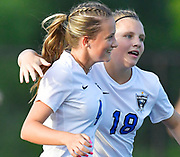 Columbia forward Maddie Mauch (right) congratulates teammate Alexa Hildebrand after her first half goal. Althoff played Columbia in the sectional championship game at Althoff High School in Belleville, IL on Friday June 11, 2021. <br /> Tim Vizer/Special to STLhighschoolsports.com.