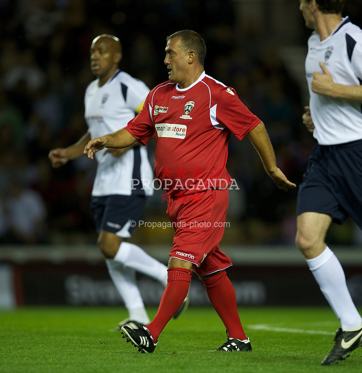 DERBY, ENGLAND - Thursday, September 8, 2011: Wales' Malcolm Allen in action against England during a legends match at Pride Park. (Pic by David Rawcliffe/Propaganda)