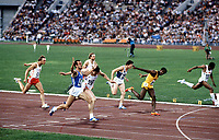 Athletics - 1980 Moscow Olympics - Men's 200 metres Final<br /> <br /> Italy's Pietro Mennea (433), with arms aloft, wins the gold medal in the Grand Arena of the Central Lenin Stadium, Moscow, USSR.<br /> <br /> To his immediate left is Great Britain's Allan Wells (290), who won the silver. Jamaica's Don Quarrie, in yellow, took the bronze.  Silvio Leonard of Cuba, far right, was fourth.