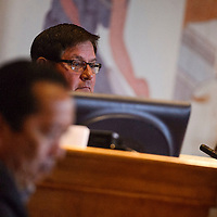 Speaker Lorenzo Bates listens to comments during the Navajo Nation Council session in Window Rock Tuesday.