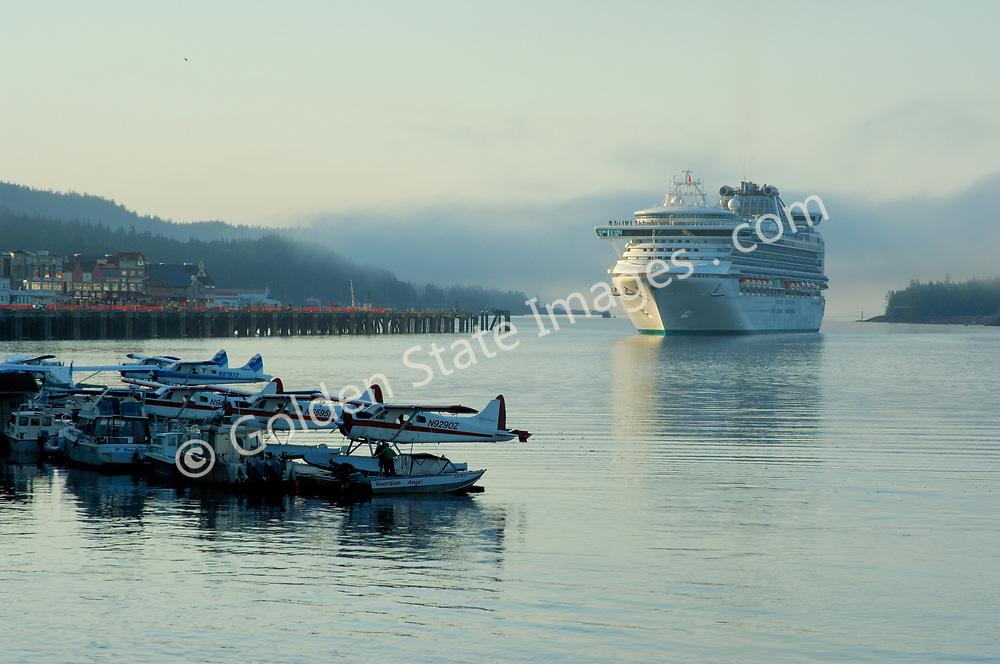 Cruise Ship Approaching Dock Along Front Street
