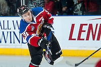 KELOWNA, CANADA - NOVEMBER 9: Dysin Mayo #23 of Team WHL warms up against the Team Russia on November 9, 2015 during game 1 of the Canada Russia Super Series at Prospera Place in Kelowna, British Columbia, Canada.  (Photo by Marissa Baecker/Western Hockey League)  *** Local Caption *** Dysin Mayo;