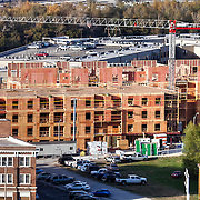 View of new residential construction in River Market area of downtown Kansas City, Missouri. Seen from roof of former Folgers Coffee Plant.