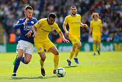 May 12, 2019 - Leicester, England, United Kingdom - Pedro of Chelsea defends the ball from Leicester City midfielder James Maddison during the Premier League match between Leicester City and Chelsea at the King Power Stadium, Leicester on Sunday 12th May 2019. (Credit Image: © Mi News/NurPhoto via ZUMA Press)