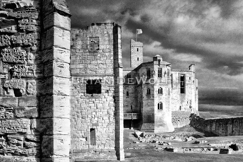"""Warkworth Castle is the scene from Shakespeare's Henry IV: """"this worm-eaten hold of ragged stone, where Hotspur's father, old Northumberland, lies crafty-sick"""".   Aspect Ratio 1w x 0.667h"""
