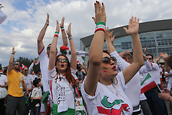 June 15, 2018 - Saint Petersburg, Russia - Iran fans enjoy the pre match atmosphere prior to the 2018 FIFA World Cup Russia group B match between Morocco and Iran at Saint Petersburg Stadium on June 15, 2018 in Saint Petersburg, Russia. (Credit Image: © Igor Russak/NurPhoto via ZUMA Press)