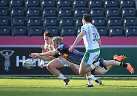 Rugby Union - 2020 / 2021 Gallagher Premiership - Round 12 - Harlequins vs Northampton Saints - The Stoop<br /> <br /> Harlequins' Tyrone Green scores his sides first try.<br /> <br /> COLORSPORT/ASHLEY WESTERN