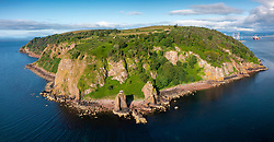 Aerial view from drone of WWII coastal defences structures at Sutors of Cromarty headland at entrance to Cromarty firth in Ross and Cromarty, Scotland Uk