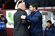Burnley Manager Sean Dyche (l) and Tottenham Hotspur Manager Mauricio Pochettino shake hands prior to kick off. Premier League match, Burnley v Tottenham Hotspur at Turf Moor in Burnley , Lancs on Saturday 1st April 2017.<br /> pic by Chris Stading, Andrew Orchard sports photography.