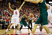 UW-Green Bay guard Khalil Small (3) looks for a teammate during the second half of the UW-Green Bay Men's Basketball game versus University of Wisconsin at the Kohl Center, Wednesday, December 14, 2016.