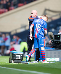 Falkirk's manager Peter Houston with Inverness Caledonian Thistle's Carl Temarco after his red card. Falkirk 1 v 2 Inverness CT, Scottish Cup final at Hampden.