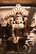 A sculpture decoration at a Jainist temple at Jaisalmer Fort, the 'Golden Fort'. It is one of the largest forts in the world. Jaisalmer, Rajasthan, India