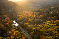 Golden sunlight illuminates the Buffalo River valley. I really loved this view. I chose a nearby campsite so I would be able to watch the sunset, the night sky, and the sunrise from this ledge on the Goat Trail.