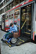 Bruce Oka disembarks the 38 line bus in San Francisco