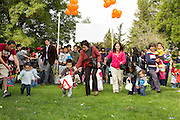 Children and parents rush the field during the Easter Egg Hunt at Christ Community Church in Milpitas, California, on March 30, 2013. (Stan Olszewski/SOSKIphoto)